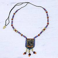 Ceramic beaded pendant necklace, 'Ekdant Ganesha' - Ceramic Ganesha Beaded Pendant Necklace from India