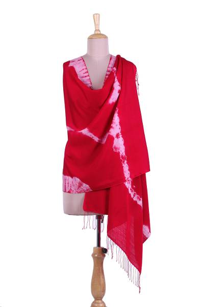 Tie-dyed silk and wool blend shawl, 'Strawberry Magic' - Tie-Dyed Silk and Wool Blend Shawl in Strawberry from India