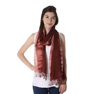 Tie-dyed cotton shawl, 'Maroon Mythos' - Tie-Dyed Fringed Cotton Shawl in Maroon from India