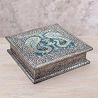 Nickel plated brass decorative box, 'Two Peacocks' - Nickel Plated Brass Decorative Box with Peacocks from India