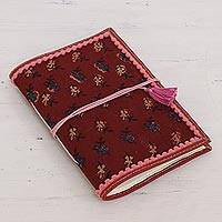 Leather accent cotton journal, 'Russet Leaves' - Leather Accent Cotton Journal in Russet from India