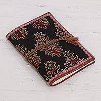 Leather accent cotton journal, 'Onyx Garden' - Floral Leather Accent Cotton Journal in Onyx from India