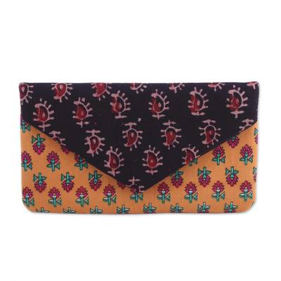 Floral Cotton Clutch in Saffron and Jade from India