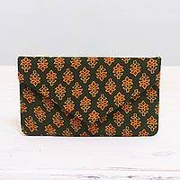 Cotton clutch, 'Floral Shower' - Printed Floral Cotton Clutch in Forest Green from India