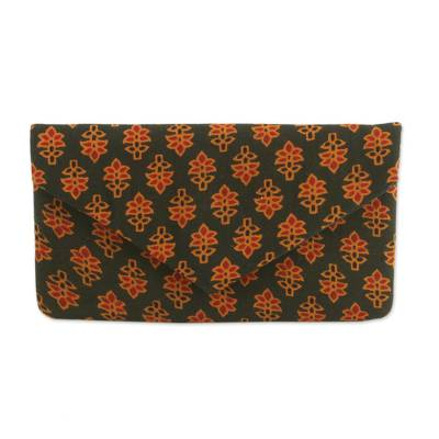 Printed Floral Cotton Clutch in Forest Green from India