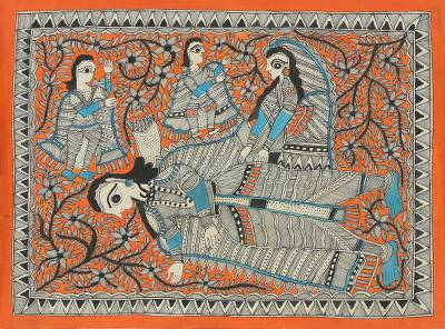 Ramayana Theme Signed India Madhubani Folk Art Painting