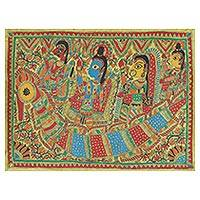 Madhubani painting, 'The Journey' - Authentic India Madhubani Painting from the Ramayana