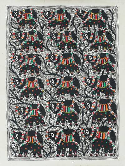 Signed Madhubani Folk Art Painting of Royal Elephants