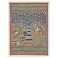 Madhubani painting, 'Joyous Dance' - Signed Madhubani Folk Art Painting of Radha and Krishna