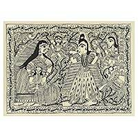 Madhubani painting, 'Shiva's Dance' - Flower Border Hindu Theme Madhubani Folk Art Painting