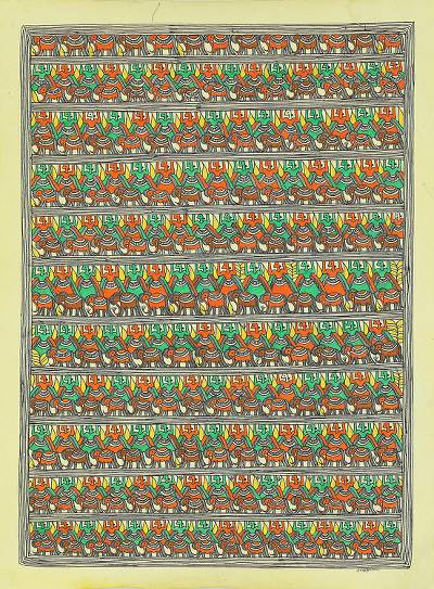 India Madhubani Painting of Royal Guards and Elephants