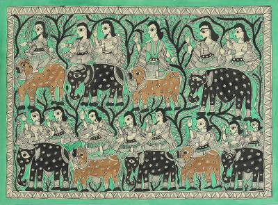 Ramayana Theme Signed Madhubani Folk Art Painting