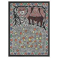 Madhubani painting, 'Happy Co-existence' - Colorful India Madhubani Folk Art Animal Painting