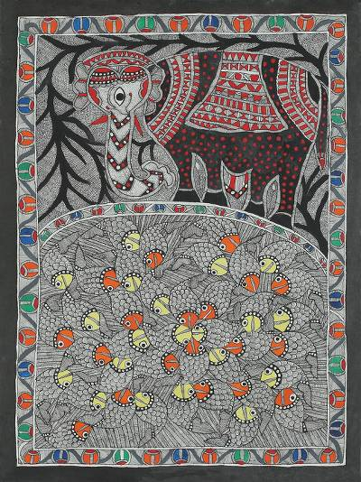 Colorful India Madhubani Folk Art Animal Painting