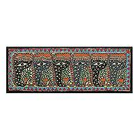 Madhubani painting, 'Happy Elephants' - Madhubani Folk Art Painting of Six Floral Elephants