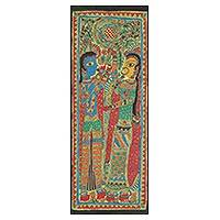 Madhubani painting, 'Endless love of Radha and Krishna' - Signed Madhubani Painting of Radha and Krishna Together