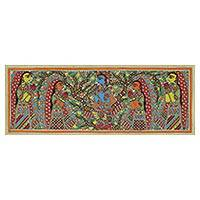 Madhubani painting, 'Krishna Enchants the Villagers' - Madhubani Painting of Krishna and His Followers