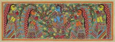 Madhubani Painting of Krishna and His Followers