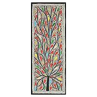 Madhubani painting, 'Rejoicing Life' - Colorful Madhubani Painting of the Tree of Life with Birds
