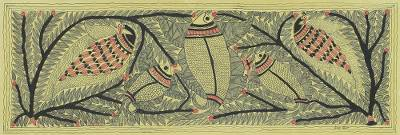 Madhubani Folk Art Painting of Fish and Birds