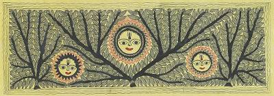 Signed Indian Madhubani Folk Art Painting of the Sun