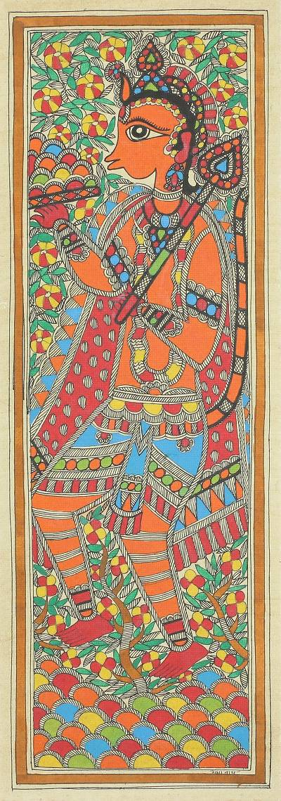Original Ramayana Story Madhubani Painting of Hanuman