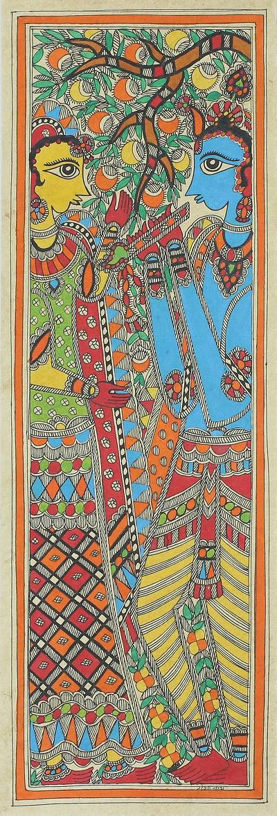 Original Freehand Madhubani Painting of Krishna and Radha