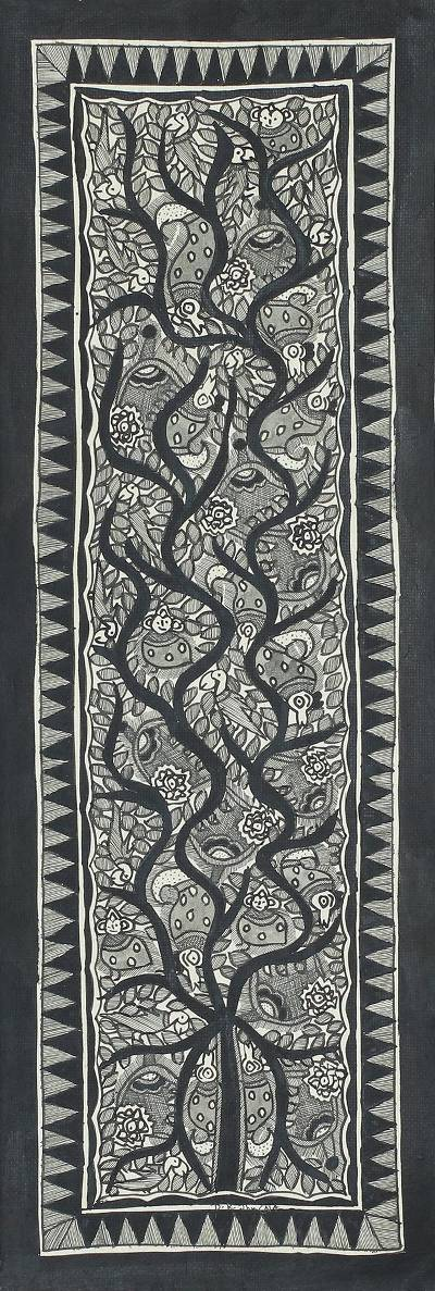 Black and White Madhubani Painting of the Tree of Life