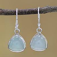 Chalcedony dangle earrings, 'Gleaming Pyramids' - Sterling Silver and Aqua Chalcedony Dangle Earrings