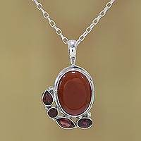 Garnet and carnelian pendant necklace, 'Fire's Embers' - Indian Sterling Silver Garnet and Carnelian Pendant Necklace