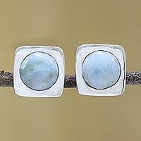 Larimar button earrings, 'Encompass' - Larimar and Sterling Silver Button Earrings from India