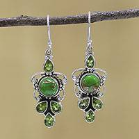 Peridot dangle earrings, 'Glittering Green' - Peridot and Green Composite Turquoise 925 Silver Earrings