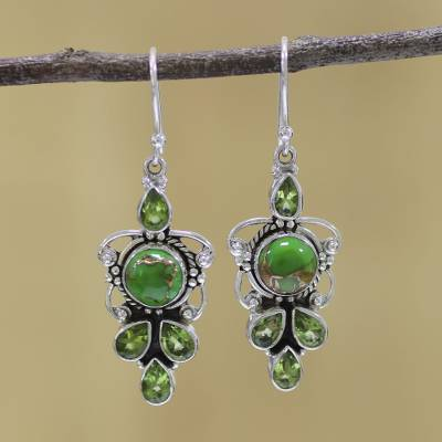 Peridot dangle earrings, Glittering Green
