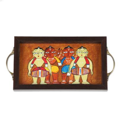 Bengali Drummer Painting on Brown Serving Tray