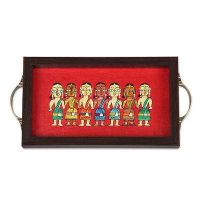 Bengali Women Painting on Red Serving Tray