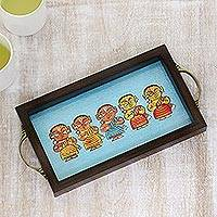 Glass tray, 'Five Bengali Dancers' - Bengali Dancers Painting on Blue Decorative Serving Tray