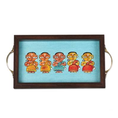 Bengali Dancers Painting on Blue Decorative Serving Tray