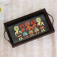 Decorative glass tray, 'Bengali Women in Grey' - Bengali Women Painting on Grey Decorative Tray