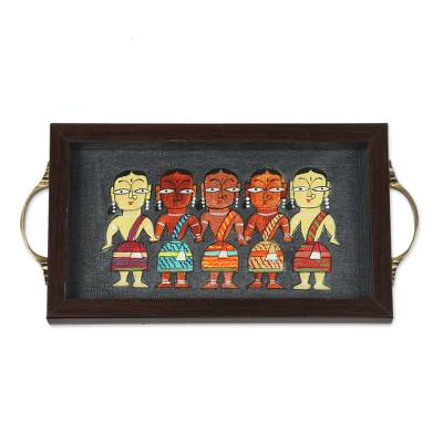 Bengali Women Painting on Grey Serving Tray