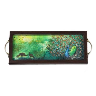 Green Peacock Painting on a Serving Tray from India