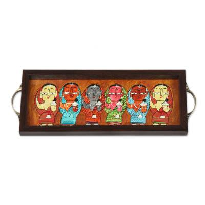 Bengali Mothers Painting on Brown Serving Tray
