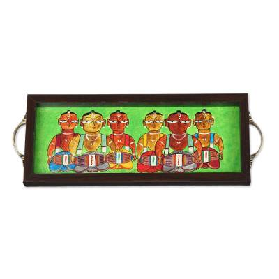 Bengali Drummer Painting on Green Serving Tray