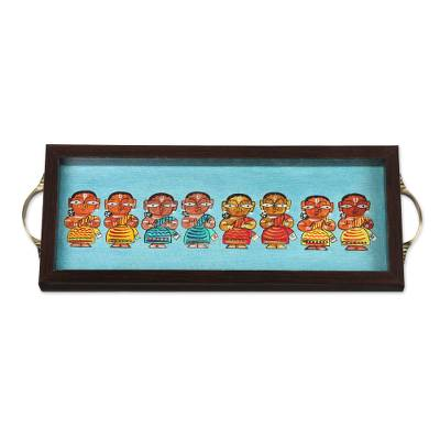 Bengali Dancers Painting on Blue Serving Tray
