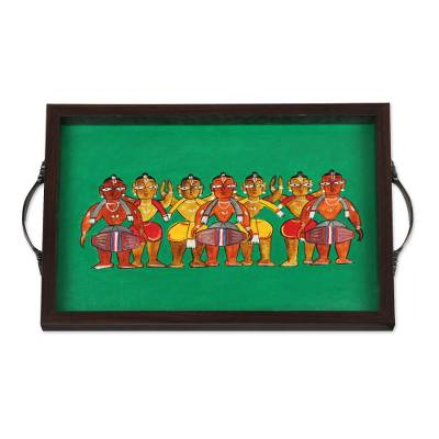 Bengali Festival Painting Green Tray