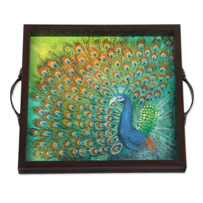 Peacock Painting on Serving Tray from India