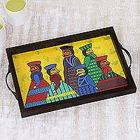 Glass decorative tray, 'Puppet Show' - Hand-Painted Cotton and Glass Serving Tray from India