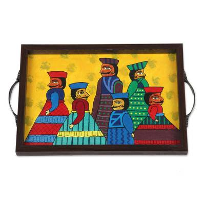 Hand-Painted Cotton and Glass Serving Tray from India