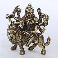 Brass sculpture, 'Majestic Goddess' - Hand Crafted Antiqued Brass Durga Sculpture from India