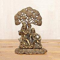 Brass sculpture, 'Krishna's Song' - Lord Krishna's Song Brass Sculpture with Antique Finish