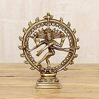 Brass sculpture, 'Natraj' - Brass Dancing Lord Shiva Sculpture with an Antiqued Finish